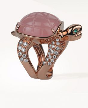 HONU, THE TURTLE RING PINK QUARTZ - JRG01823