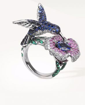 HOPI, THE HUMMINGBIRD RING BLUE SAPPHIRE - JRG02156