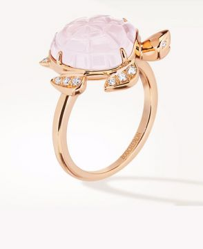 HONU, THE TURTLE RING, PINK QUARTZ - JRG02028