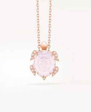 HONU, THE TURTLE PENDANT, PINK QUARTZ - JPN00485