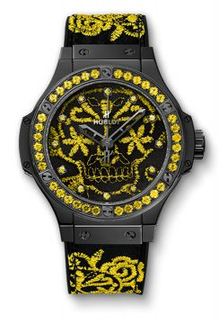 BIG BANG BRODERIE SUGAR SKULL FLUO SUNFLOWER 41 mm - 343.CY.6590.NR.1211