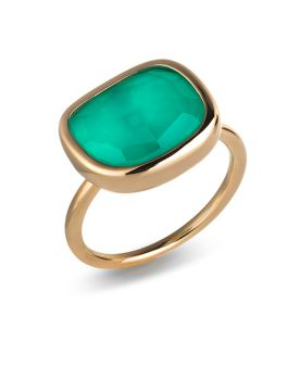 BLACK JADE GREEN AGATE RING -